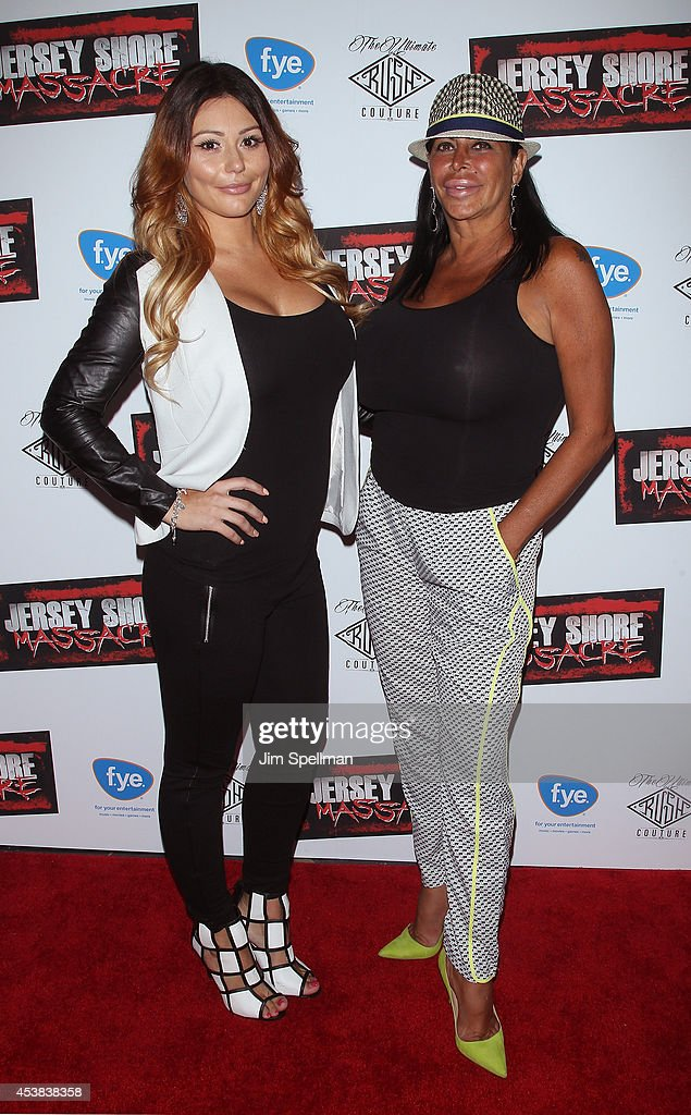 Personalities Jenni 'JWoww' Farley and Angela 'Big Ang' Raiola attend the 'Jersey Shore Massacre' New York Premiere at AMC Lincoln Square Theater on...
