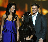 TV personalities Jenni 'JWoww' Farley Nicole 'Snooki' Polizzi and Paul 'Pauly D' DelVecchio onstage at Spike TV's 7th Annual Video Game Awards at the...