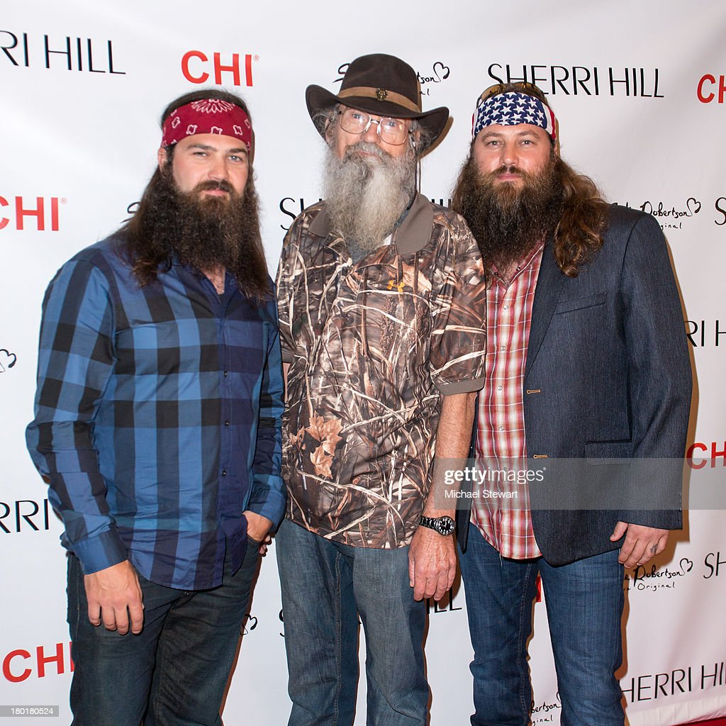 TV personalities Jep Robertson, Silas Merritt 'Si' Robertson and Willie Robertson attend the Evening By Sherri Hill Spring 2014 show at Trump Tower on September 9, 2013 in New York City.