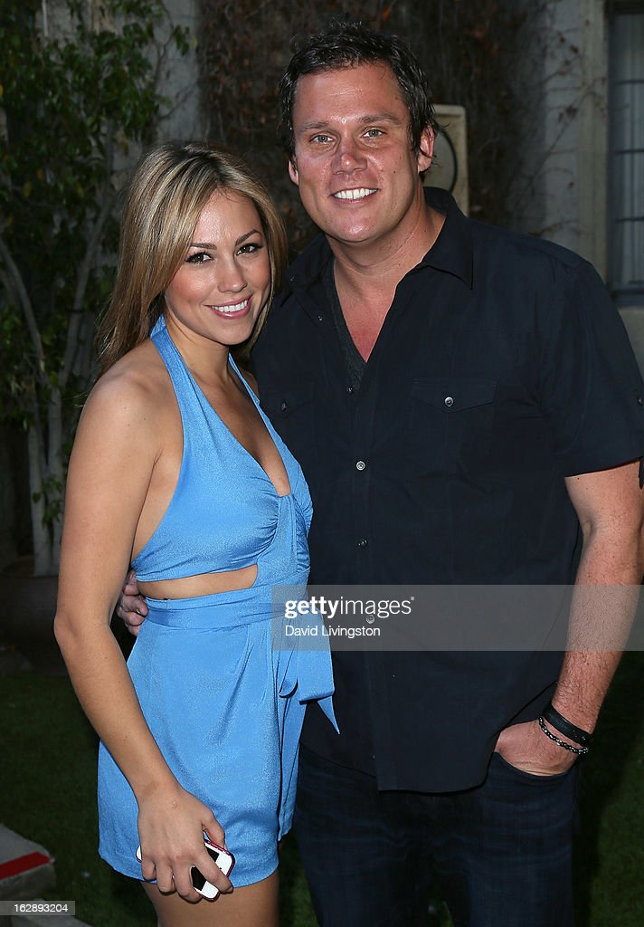 TV personalities Jessica Hall (L) and <a gi-track='captionPersonalityLinkClicked' href=/galleries/search?phrase=Bob+Guiney&family=editorial&specificpeople=212916 ng-click='$event.stopPropagation()'>Bob Guiney</a> attend the 35th Anniversary Playboy Jazz Festival news conference at the Playboy Mansion on February 28, 2013 in Beverly Hills, California.