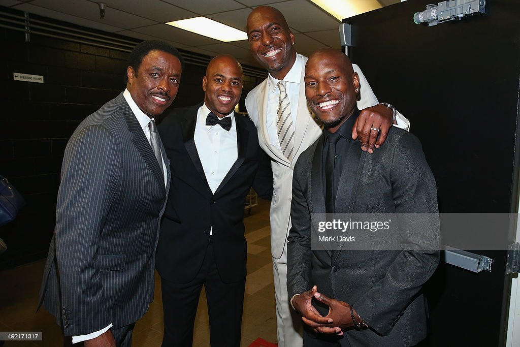 TV personalities Jim Hill Kevin Frazier Former NBA player John Salley and actor Tyrese Gibson backstage at the 2014 Sports Spectacular Gala at the...