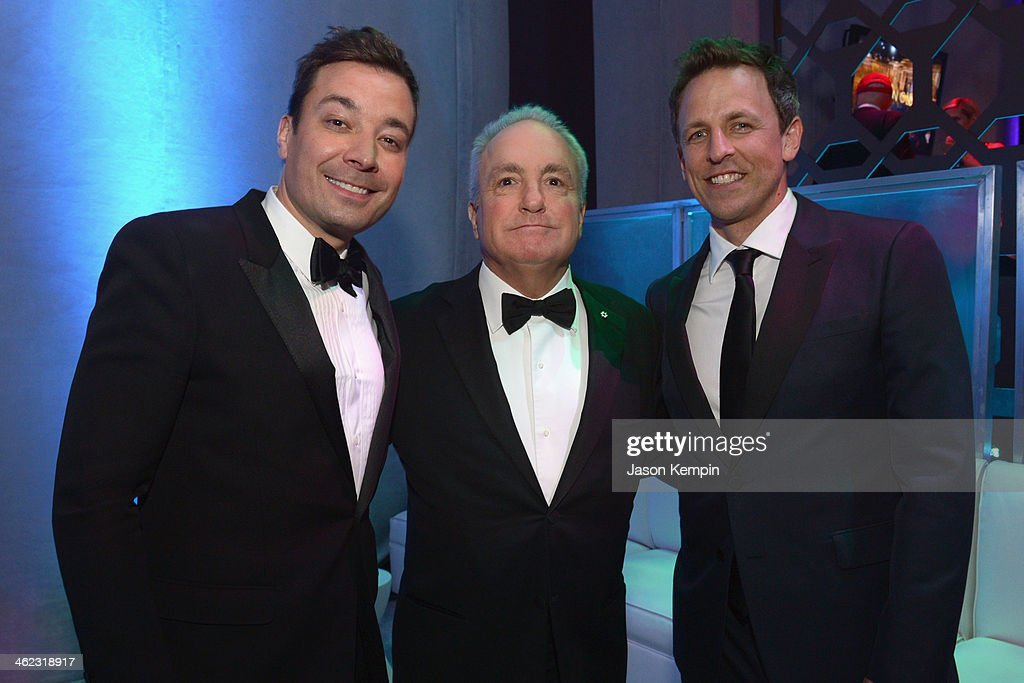 TV Personalities Jimmy Falon, <a gi-track='captionPersonalityLinkClicked' href=/galleries/search?phrase=Lorne+Michaels&family=editorial&specificpeople=207010 ng-click='$event.stopPropagation()'>Lorne Michaels</a>, and <a gi-track='captionPersonalityLinkClicked' href=/galleries/search?phrase=Seth+Meyers&family=editorial&specificpeople=618859 ng-click='$event.stopPropagation()'>Seth Meyers</a> attend the Universal, NBC, Focus Features, E! sponsored by Chrysler viewing and after party with Gold Meets Golden held at The Beverly Hilton Hotel on January 12, 2014 in Beverly Hills, California.