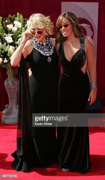 TV personalities Joan and Melissa Rivers arrive at the 57th Annual Emmy Awards held at the Shrine Auditorium on September 18 2005 in Los Angeles...