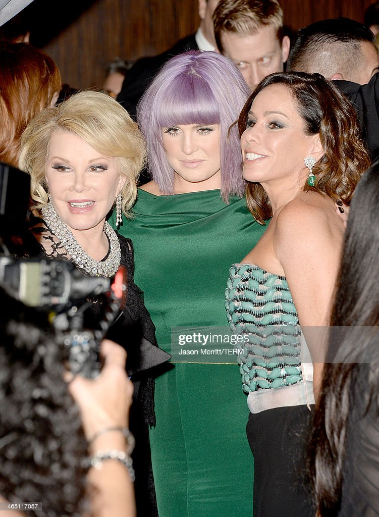 TV personalities Joan Rivers, Kelly Osbourne, and Melissa Rivers attend the 56th annual GRAMMY Awards Pre-GRAMMY Gala and Salute to Industry Icons honoring Lucian Grainge at The Beverly Hilton on January 25, 2014 in Los Angeles, California.