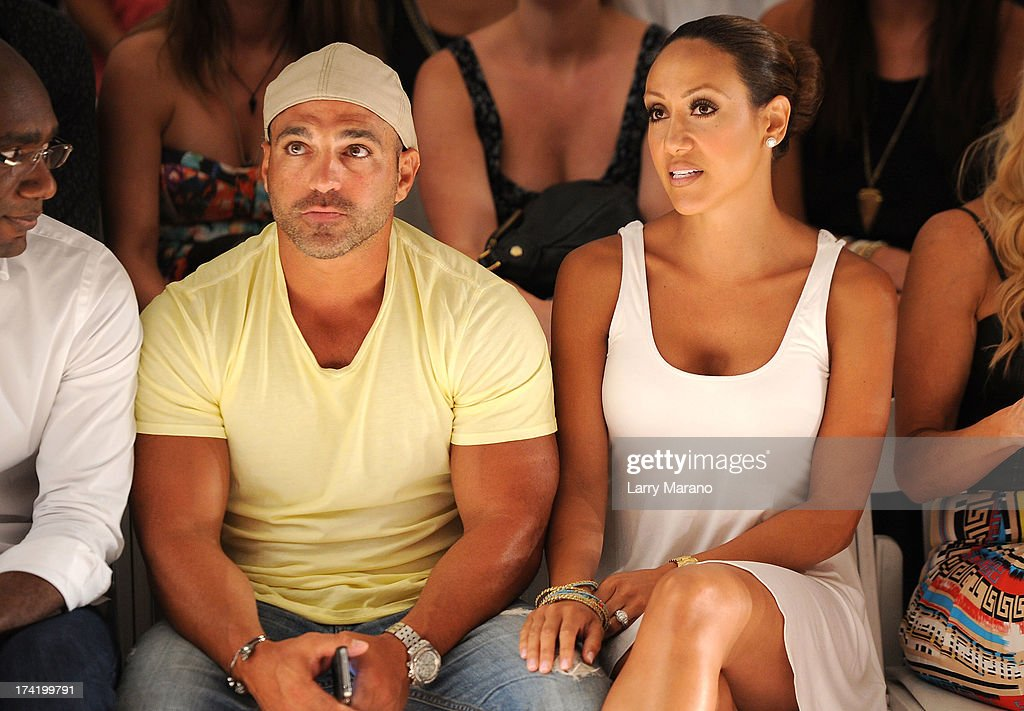 TV personalities Joe Gorga and <a gi-track='captionPersonalityLinkClicked' href=/galleries/search?phrase=Melissa+Gorga&family=editorial&specificpeople=7306775 ng-click='$event.stopPropagation()'>Melissa Gorga</a> attend the L*Space By Monica Wise show during Mercedes-Benz Fashion Week Swim 2014 at Cabana Grande at the Raleigh on July 21, 2013 in Miami, Florida.