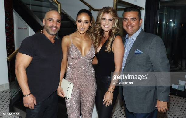 TV personalities Joe Gorga Melissa Gorga Lisa Valastro and chef Buddy Valastro attend Melissa Gorga's birthday celebration at Molos on March 25 2017...