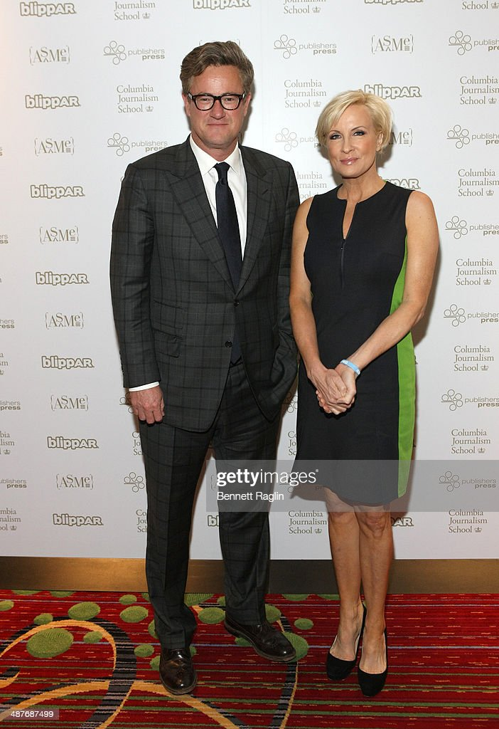 TV personalities <a gi-track='captionPersonalityLinkClicked' href=/galleries/search?phrase=Joe+Scarborough&family=editorial&specificpeople=2616862 ng-click='$event.stopPropagation()'>Joe Scarborough</a> and <a gi-track='captionPersonalityLinkClicked' href=/galleries/search?phrase=Mika+Brzezinski&family=editorial&specificpeople=5525152 ng-click='$event.stopPropagation()'>Mika Brzezinski</a> of MSNBC attend the 2014 National Magazine Awards at The New York Marriott Marquis on May 1, 2014 in New York City.