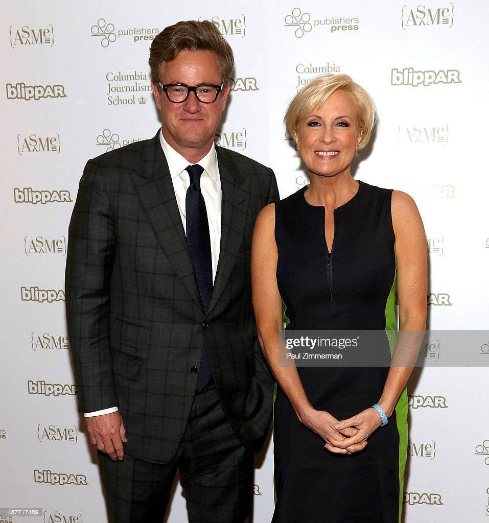 TV personalities <a gi-track='captionPersonalityLinkClicked' href=/galleries/search?phrase=Joe+Scarborough&family=editorial&specificpeople=2616862 ng-click='$event.stopPropagation()'>Joe Scarborough</a> (L) and <a gi-track='captionPersonalityLinkClicked' href=/galleries/search?phrase=Mika+Brzezinski&family=editorial&specificpeople=5525152 ng-click='$event.stopPropagation()'>Mika Brzezinski</a> of MSNBC attend the 2014 National Magazine Awards at The New York Marriott Marquis on May 1, 2014 in New York City.