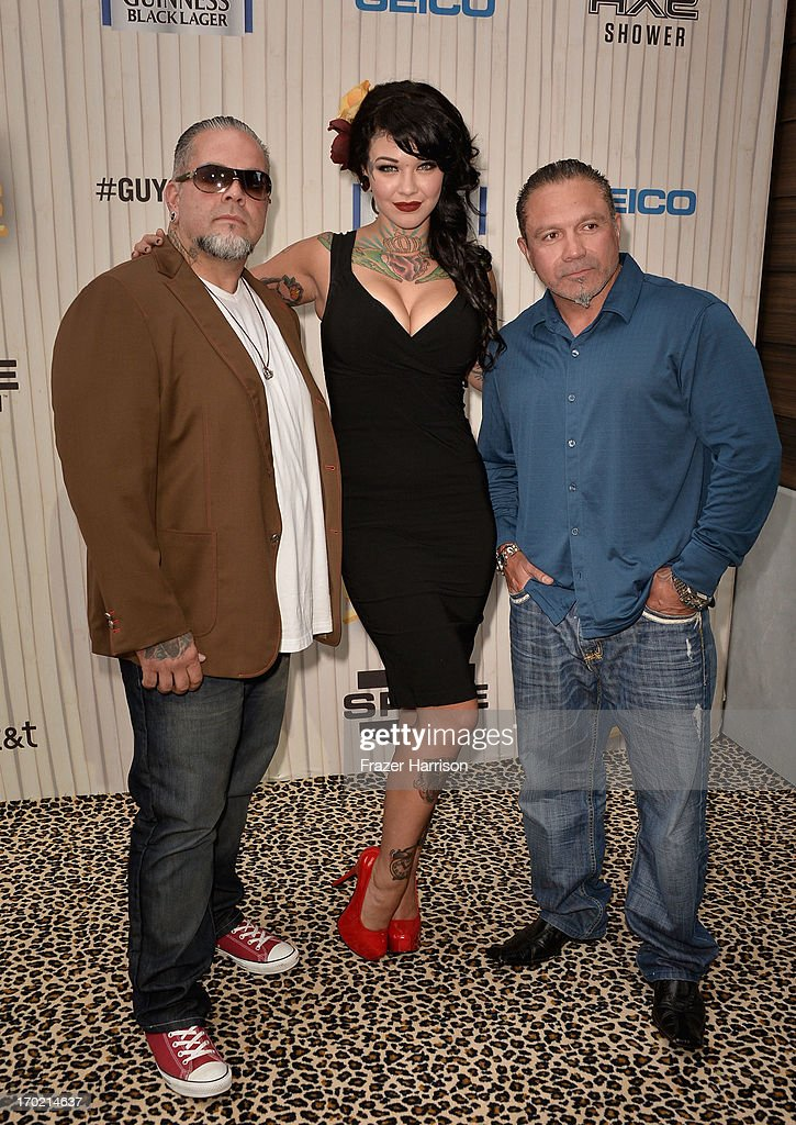 TV personalities Joey 'Tattoo' Germinario, Cara Mia and Sammy the Builder attend Spike TV's Guys Choice 2013 at Sony Pictures Studios on June 8, 2013 in Culver City, California.