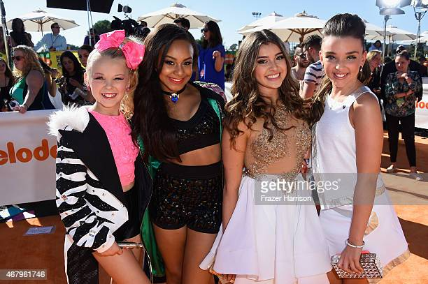 TV personalities JoJo Siwa Nia Sioux Frazier Kalani Hilliker and Kendall Vertes attend Nickelodeon's 28th Annual Kids' Choice Awards held at The...