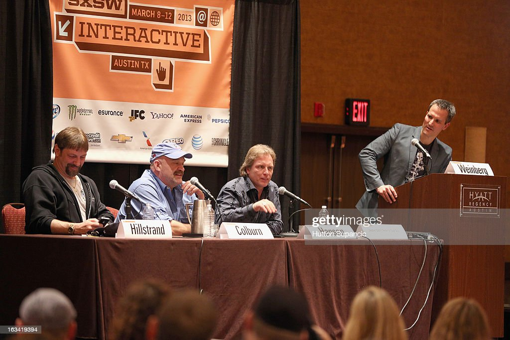 TV personalities Jonathan Hillstrand, Keith Colburn and Sig Hansen and Discovery Channel's Josh Weinberg speak onstage at Deadliest Catch's Twitter For Tough Guys during the 2013 SXSW Music, Film + Interactive Festival at Hyatt Regency Austin on March 9, 2013 in Austin, Texas.
