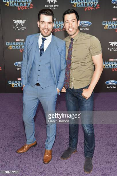 TV personalities Jonathan Scott and Drew Scott at the premiere of Disney and Marvel's 'Guardians Of The Galaxy Vol 2' at Dolby Theatre on April 19...