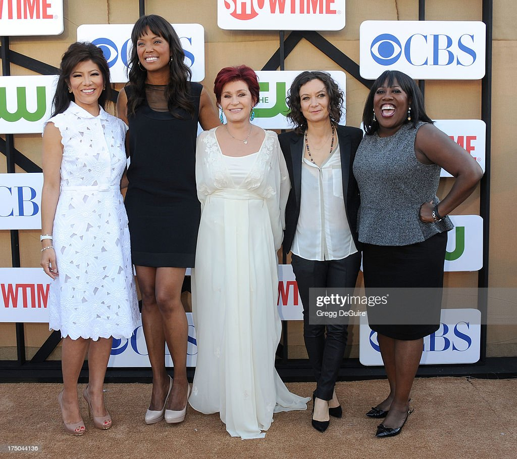 TV personalities Julie Chen, Aisha Tyler, Sharon Osbourne, Sara Gilbert and Sheryl Underwood arrive at the CBS/CW/Showtime Television Critic Association's summer press tour party at 9900 Wilshire Blvd on July 29, 2013 in Beverly Hills, California.