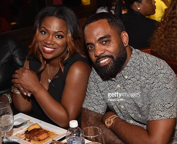 TV personalities Kandi Burrus and Todd Tucker attend Tiny Harris Celebrity Birthday Celebration at Scales 925 on July 14 2015 in Atlanta Georgia