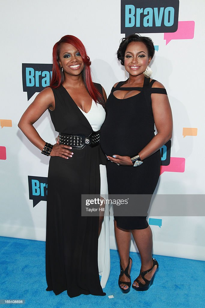 TV personalities <a gi-track='captionPersonalityLinkClicked' href=/galleries/search?phrase=Kandi+Burruss&family=editorial&specificpeople=4401257 ng-click='$event.stopPropagation()'>Kandi Burruss</a> and Phaedra Parks of 'The Real Housewives of Atlanta' attend the 2013 Bravo Upfront at Pillars 37 Studios on April 3, 2013 in New York City.