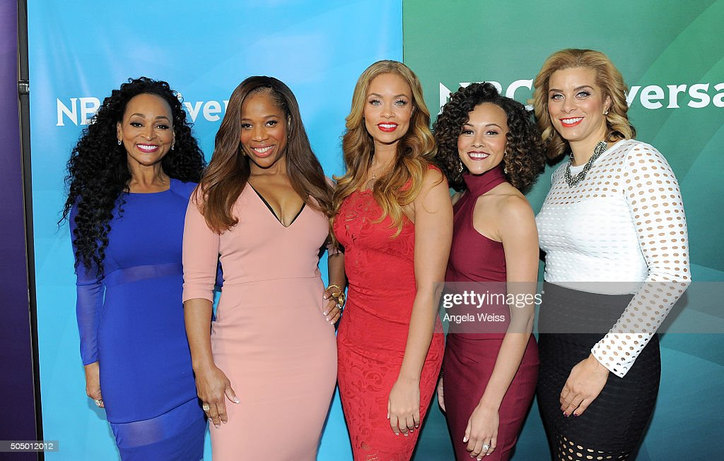 TV personalities Karen Huger, Charisse Jackson Jordan, Gizelle Bryant, Ashley Darby and Robyn Dixon arrive at the 2016 Winter TCA Tour - NBCUniversal Press Tour Day 2 at Langham Hotel on January 14, 2016 in Pasadena, California.