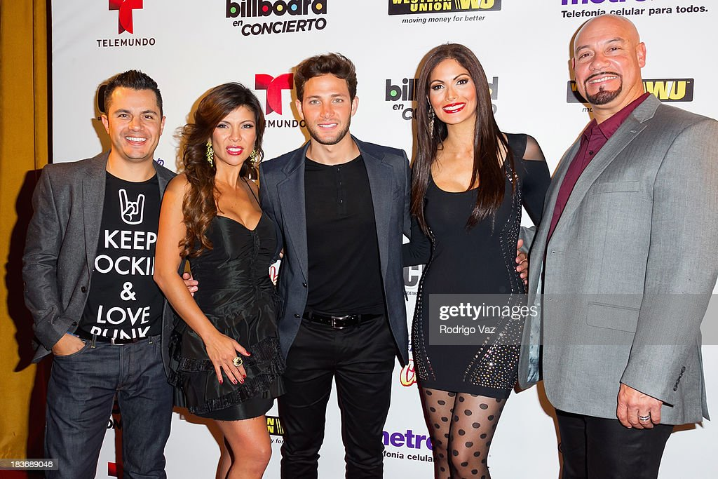 TV personalities Karim Mendiburu, Mirella Grisales, Gabriel Coronel, <a gi-track='captionPersonalityLinkClicked' href=/galleries/search?phrase=Cynthia+Olavarria&family=editorial&specificpeople=868810 ng-click='$event.stopPropagation()'>Cynthia Olavarria</a> and Egar Lopez attend Billboard In Concert Series presents Calibre 50 at The Conga Room at L.A. Live on October 8, 2013 in Los Angeles, California.