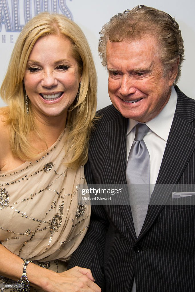 TV personalities <a gi-track='captionPersonalityLinkClicked' href=/galleries/search?phrase=Kathie+Lee+Gifford&family=editorial&specificpeople=203269 ng-click='$event.stopPropagation()'>Kathie Lee Gifford</a> (L) and <a gi-track='captionPersonalityLinkClicked' href=/galleries/search?phrase=Regis+Philbin&family=editorial&specificpeople=202495 ng-click='$event.stopPropagation()'>Regis Philbin</a> attend the 'Scandalous' Broadway Opening Night after party at Copacabana on November 15, 2012 in New York City.