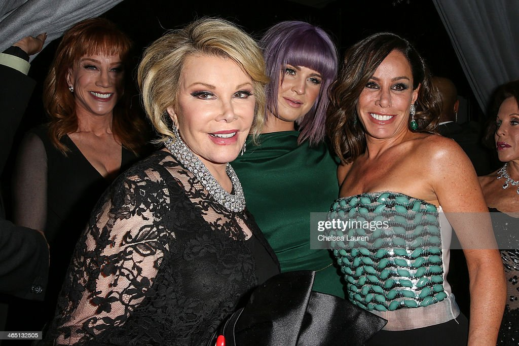 TV personalities Kathy Griffin Joan Rivers Kelly Osbourne and Melissa Rivers arrive at the 2014 HYUNDAI / GRAMMYs Clive Davis PreGRAMMY Gala...