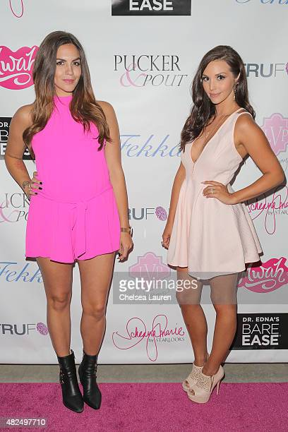 TV personalities Katie Maloney and Scheana Marie attend Katie Maloney's Pucker and Pout launch party at Frederic Fekkai Hair Salon on July 30 2015 in...