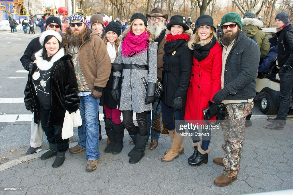 TV personalities Kay Roberston, Jase Roberston, Willie Robertson, Sadie Robertson, Luke Robertson, Korie Robertson, Silas Merritt 'Si' Robertson, Melissa Robertson, Jessica Robertson and Jep Robertson of Duck Dynasty attend the 87th annual Macy's Thanksgiving Day parade on November 28, 2013 in New York City.