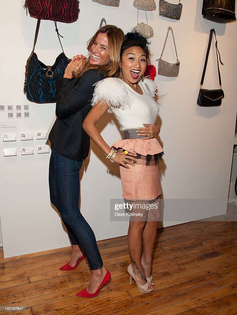 TV Personalities Kelly Bensimon and Jeannie Mai attend the OpenSky Pop-Up Gallery launch at 477 Broome Street on November 10, 2011 in New York City.