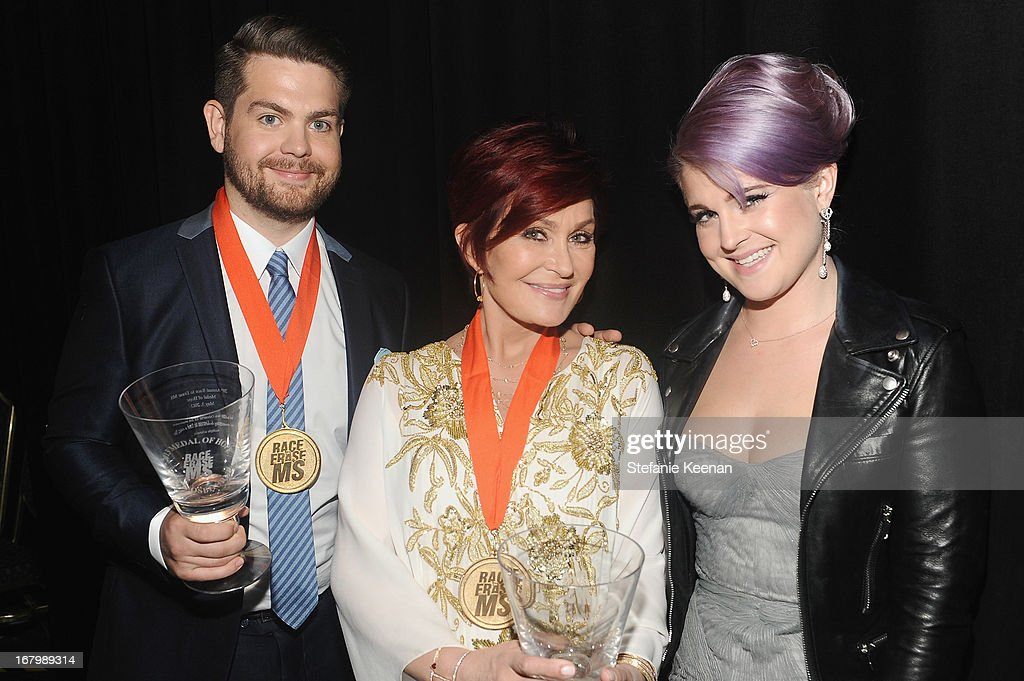 TV personalities <a gi-track='captionPersonalityLinkClicked' href=/galleries/search?phrase=Kelly+Osbourne&family=editorial&specificpeople=156416 ng-click='$event.stopPropagation()'>Kelly Osbourne</a>, <a gi-track='captionPersonalityLinkClicked' href=/galleries/search?phrase=Sharon+Osbourne&family=editorial&specificpeople=203094 ng-click='$event.stopPropagation()'>Sharon Osbourne</a>, and <a gi-track='captionPersonalityLinkClicked' href=/galleries/search?phrase=Jack+Osbourne&family=editorial&specificpeople=202112 ng-click='$event.stopPropagation()'>Jack Osbourne</a> attend the 20th Annual Race To Erase MS Gala 'Love To Erase MS' at the Hyatt Regency Century Plaza on May 3, 2013 in Century City, California.
