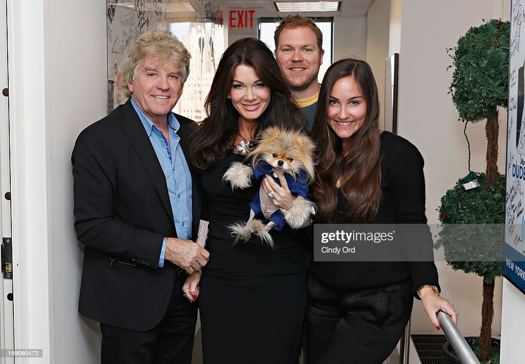 TV personalities Ken Todd, Lisa Vanderpump, and Giggy pose with Cosmo Radio host Taylor Strecker (R) and Cosmo Radio co- host Kenny Zimlinghaus (back) at SiriusXM Studio SiriusXM Studios on January 7, 2013 in New York City.