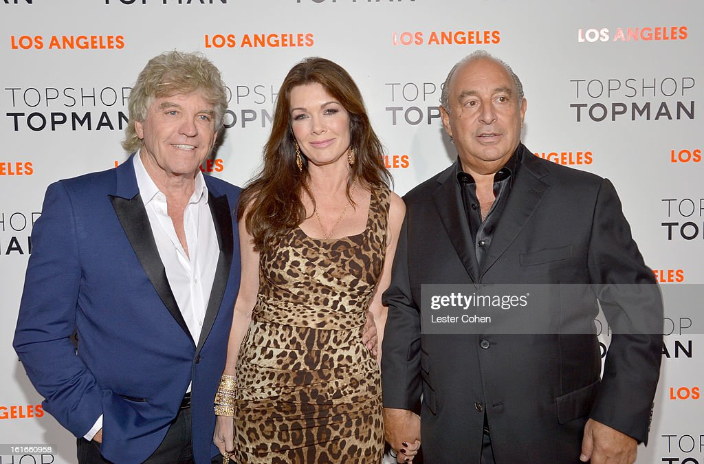 TV personalities Ken Todd, Lisa Vanderpump and proprietor Sir Philip Green arrive at the Topshop Topman LA Opening Party at Cecconi's West Hollywood on February 13, 2013 in Los Angeles, California.