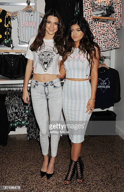 TV personalities Kendall Jenner and Kylie Jenner attend the launch of the PacSun 'Kendall Kylie Holiday Collection' at Glendale Galleria on November...