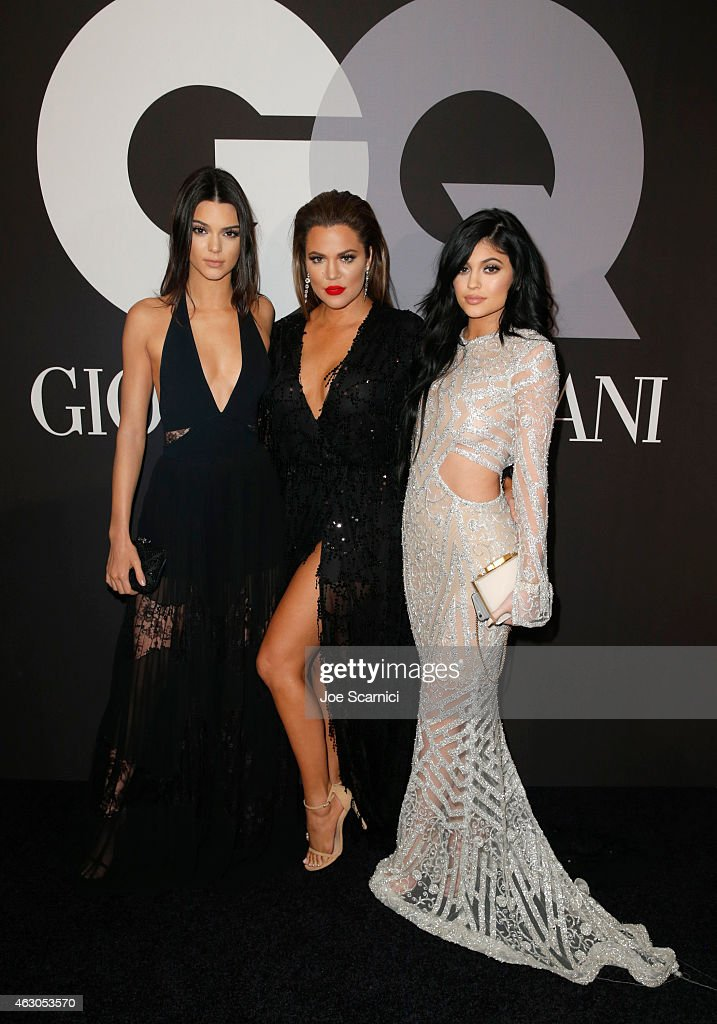 TV personalities Kendall Jenner, Khloe Kardashian, and Kylie Jenner attend GQ and Giorgio Armani Grammys After Party at Hollywood Athletic Club on February 8, 2015 in Hollywood, California.