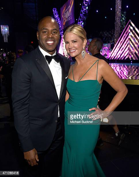 TV personalities Kevin Frazier and Nancy O'Dell attend The 42nd Annual Daytime Emmy Awards at Warner Bros Studios on April 26 2015 in Burbank...