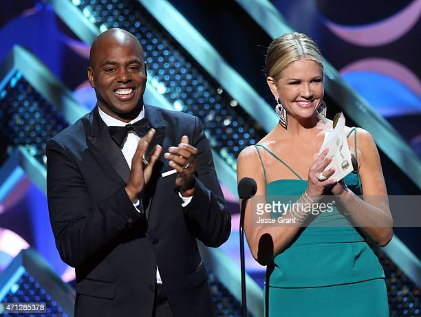 TV personalities Kevin Frazier and Nancy O'Dell speak onstage during The 42nd Annual Daytime Emmy Awards at Warner Bros Studios on April 26 2015 in...