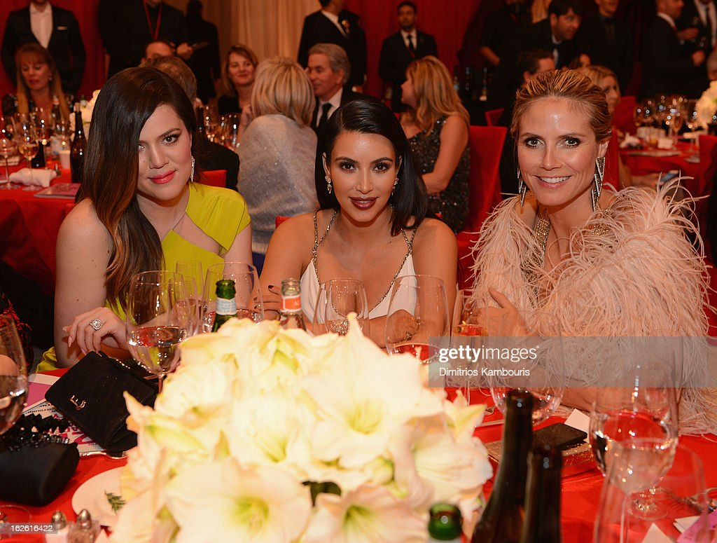 TV Personalities Khloe and Kim Kardashian and model Heidi Klum attend the 21st Annual Elton John AIDS Foundation Academy Awards Viewing Party at West Hollywood Park on February 24, 2013 in West Hollywood, California.