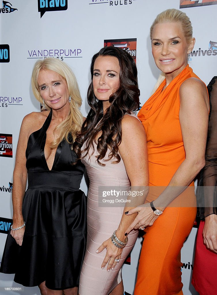 TV personalities <a gi-track='captionPersonalityLinkClicked' href=/galleries/search?phrase=Kim+Richards&family=editorial&specificpeople=689572 ng-click='$event.stopPropagation()'>Kim Richards</a>, <a gi-track='captionPersonalityLinkClicked' href=/galleries/search?phrase=Kyle+Richards&family=editorial&specificpeople=2586434 ng-click='$event.stopPropagation()'>Kyle Richards</a> and Yolanda H. Foster arrive at 'The Real Housewives Of Beverly Hills' And 'Vanderpump Rules' premiere party at Boulevard3 on October 23, 2013 in Hollywood, California.