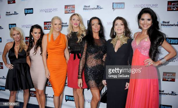 TV personalities Kim Richards Kyle Richards Yolanda H Foster Brandi Glanville Carlton Gebbia Lisa Vanderpump and Joyce Giraud de Ohoven arrive at...