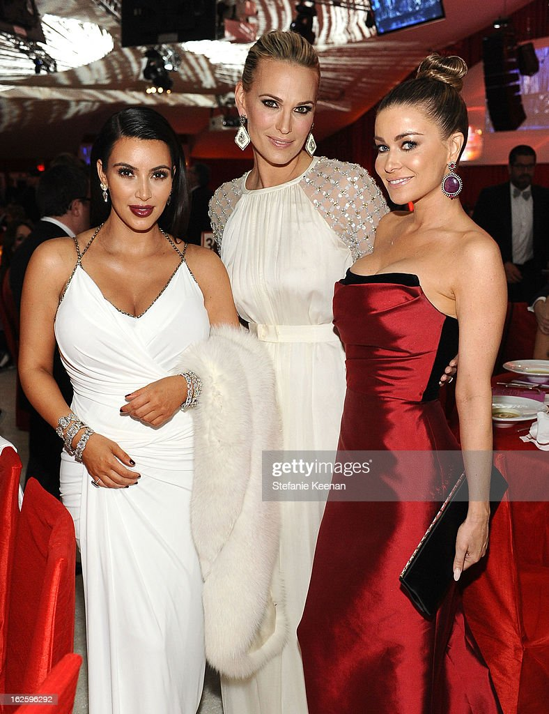 TV Personalities Kimi Kardashian; Molly Sims; and Carmen Electra attends Chopard at 21st Annual Elton John AIDS Foundation Academy Awards Viewing Party at West Hollywood Park on February 24, 2013 in West Hollywood, California.