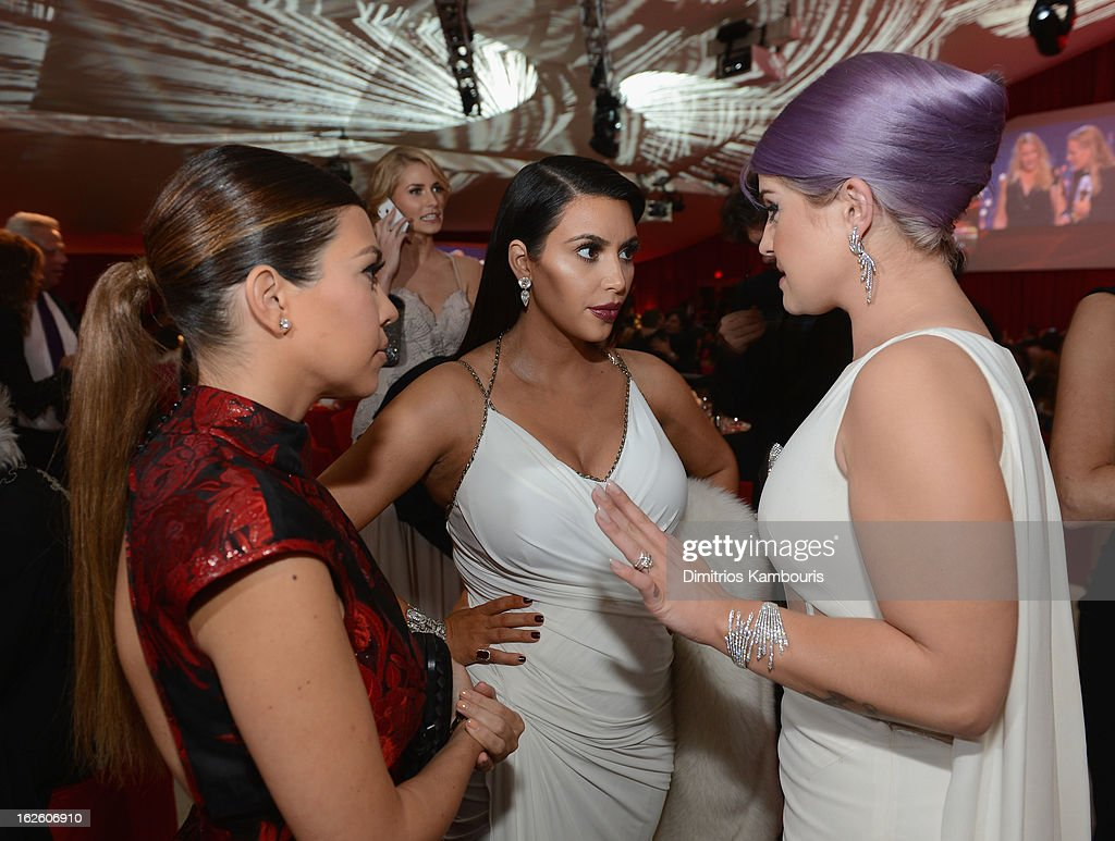 TV Personalities Kourtney Kardashian, Kim Kardashian and Kelly Osbourne attend the 21st Annual Elton John AIDS Foundation Academy Awards Viewing Party at West Hollywood Park on February 24, 2013 in West Hollywood, California.