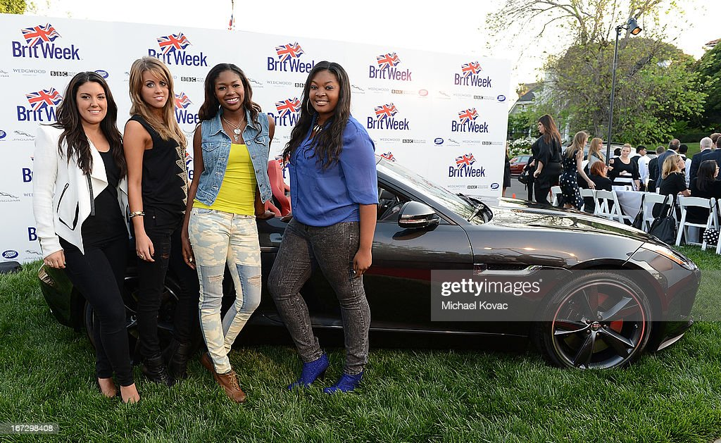 TV personalities Kree Harrison, Angie Miller, Amber Holcomb, and Candice Glover attend the BritWeek Los Angeles red carpet launch party with official vehicle sponsor Jaguar on April 23, 2013 in Los Angeles, California.