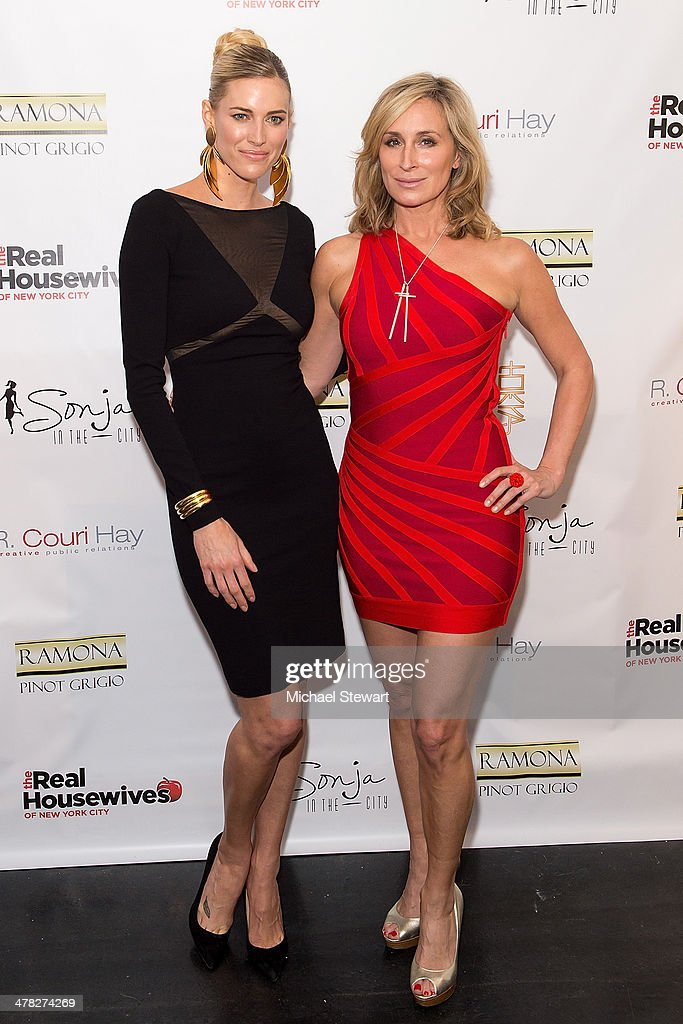 TV personalities Kristen Taekman (L) and Sonja Morgan attend the 'The Real Housewives Of New York City' season six premiere party at Tokya on March 12, 2014 in New York City.