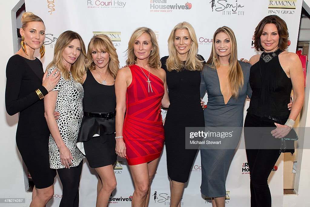 TV personalities Kristen Taekman, Carole Radziwill, Ramona Singer, Sonja Morgan, Aviva Drescher, Heather Thomson and Countess LuAnn De Lesseps attend the 'The Real Housewives Of New York City' season six premiere party at Tokya on March 12, 2014 in New York City.