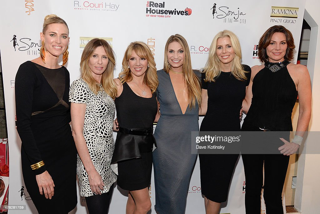 TV personalities Kristen Taekman, Carole Radziwill, <a gi-track='captionPersonalityLinkClicked' href=/galleries/search?phrase=Ramona+Singer&family=editorial&specificpeople=4949817 ng-click='$event.stopPropagation()'>Ramona Singer</a>, Sonja Morgan, <a gi-track='captionPersonalityLinkClicked' href=/galleries/search?phrase=Aviva+Drescher&family=editorial&specificpeople=8624423 ng-click='$event.stopPropagation()'>Aviva Drescher</a>, Heather Thomson and Countess LuAnn De Lesseps attend the 'The Real Housewives Of New York City' season six premiere party at Tokya on March 12, 2014 in New York City.