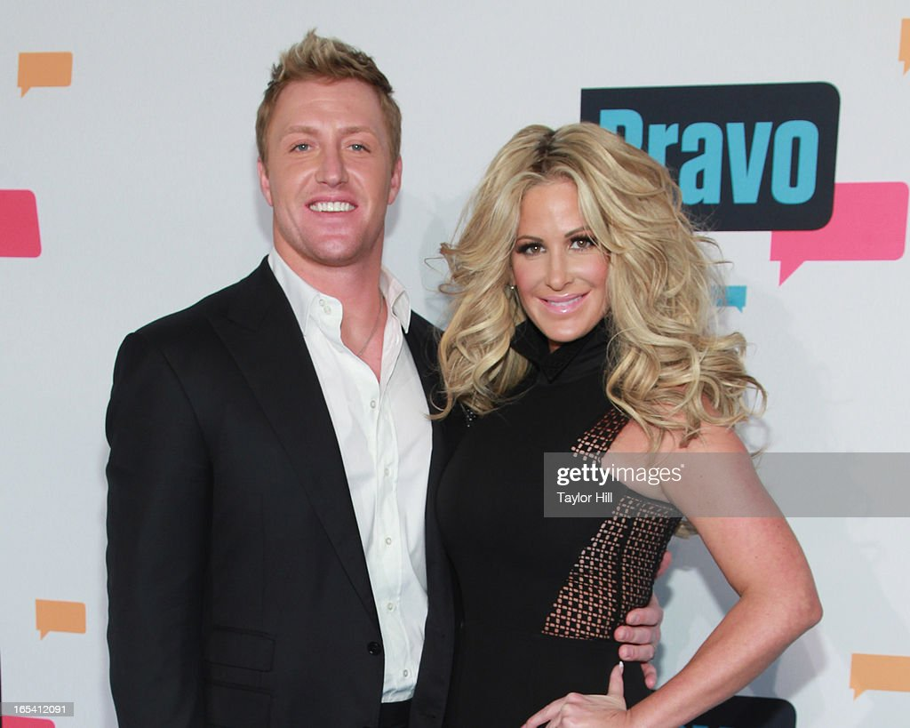 TV personalities Kroy Biermann and Kim Zolciak of 'Don't Be Tardy...' attend the 2013 Bravo Upfront at Pillars 37 Studios on April 3, 2013 in New York City.