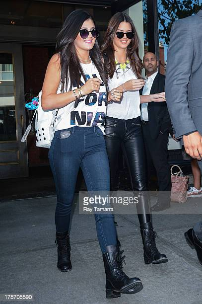 TV personalities Kylie Jenner and Kendall Jenner leave their Soho hotel on August 6 2013 in New York City
