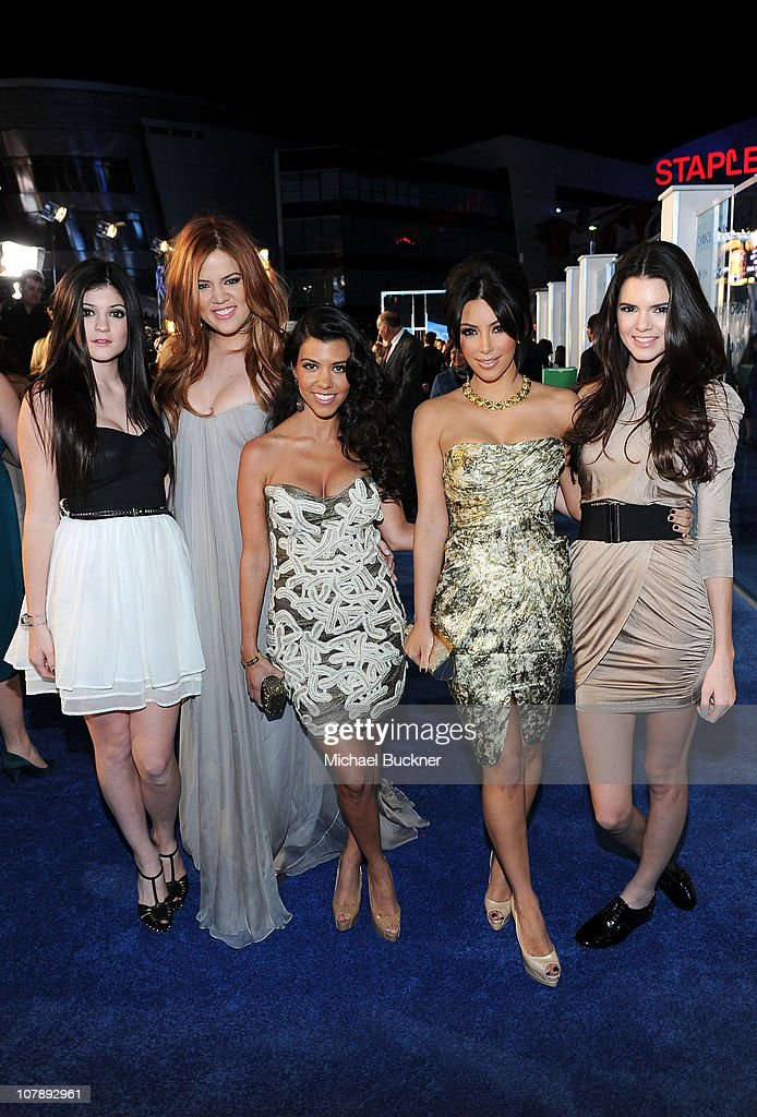 TV personalities Kylie Jenner, Khloe Kardashian, Kourtney Kardashian, Kim Kardashian and Kendall Jenner arrive at the 2011 People's Choice Awards at Nokia Theatre L.A. Live on January 5, 2011 in Los Angeles, California.