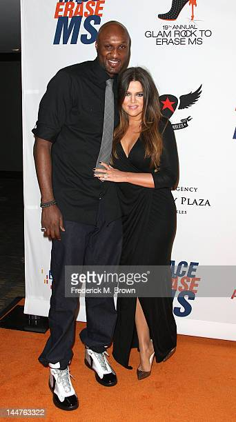 Personalities Lamar Odom and Khole Kardashian attend the 19th Annual Race To Erase MS 'Glam Rock To Erase MS' event at the Hyatt Regency Century...