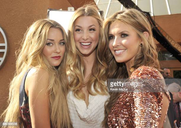 TV personalities Lauren Conrad Whitney Port and Audrina Patridge arrive at the 2009 MTV Movie Awards held at the Gibson Amphitheatre on May 31 2009...