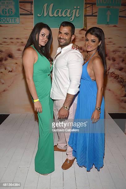 TV personalities Leila Gharachedaghi Shervin Roohparvar and Golnesa 'GG' Gharachedaghi attend the Maaji Swimwear fashion show during Miami Swim Week...