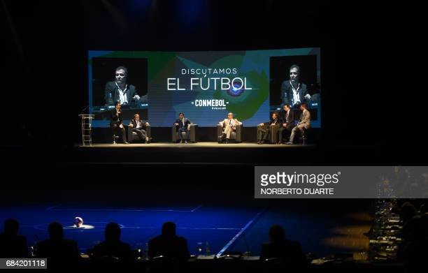 Personalities linked to the South American football participate in a meeting to discuss strategies about how the new football should be developed in...