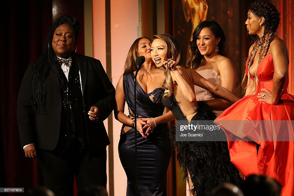 TV personalities Loni Love, <a gi-track='captionPersonalityLinkClicked' href=/galleries/search?phrase=Adrienne+Bailon&family=editorial&specificpeople=540286 ng-click='$event.stopPropagation()'>Adrienne Bailon</a>, <a gi-track='captionPersonalityLinkClicked' href=/galleries/search?phrase=Tamera+Mowry&family=editorial&specificpeople=798679 ng-click='$event.stopPropagation()'>Tamera Mowry</a>-Housley, <a gi-track='captionPersonalityLinkClicked' href=/galleries/search?phrase=Jeannie+Mai&family=editorial&specificpeople=5848549 ng-click='$event.stopPropagation()'>Jeannie Mai</a>, and <a gi-track='captionPersonalityLinkClicked' href=/galleries/search?phrase=Tamar+Braxton&family=editorial&specificpeople=2079619 ng-click='$event.stopPropagation()'>Tamar Braxton</a> speak onstage during the 2016 Daytime Emmy Awards at Westin Bonaventure Hotel on May 1, 2016 in Los Angeles, California.